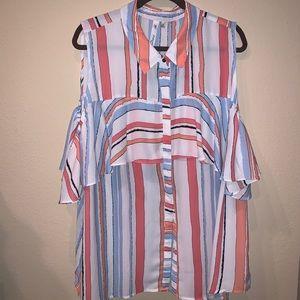 button down stripped blouse